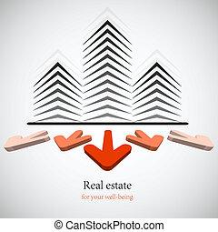 echte, concept, landgoed, business., keuze, achtergrond., vector, jouw, best