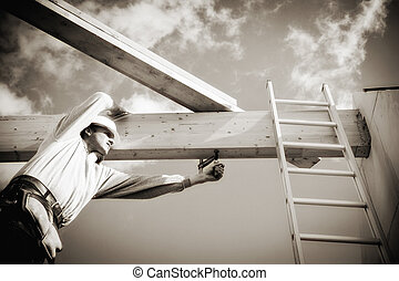 echte, de arbeider van de bouw, op, gebouw stek