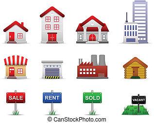 echte, eigendom, landgoederen, vector, iconen