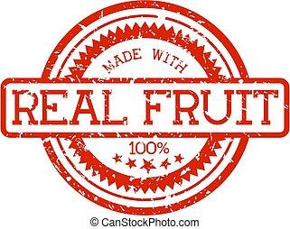 echte, fruit, rubberstempel