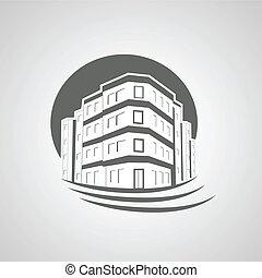 echte , gebäude, mietshaus, symbol, gut, silhouette, vektor,...