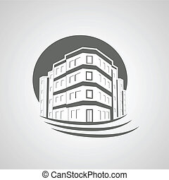 echte, gebouw, flat huis, symbool, landgoed, silhouette, ...