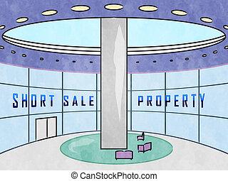 echte, gebouw, kort, landgoed, middelen, woning, -, verkoop, illustratie, of, verlies, thuis, investering, 3d