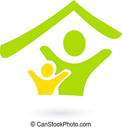 echte, gezin, abstract, landgoed, vrijstaand, witte , liefdadigheid, of, pictogram