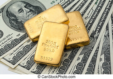 echte , gold prägt, als, goldbarren, investition