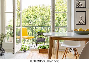 echte , hölzern, foto, wand, gelber , elegant, inneneinrichtung, plakate, weißes, balkon, stuhl, kueche