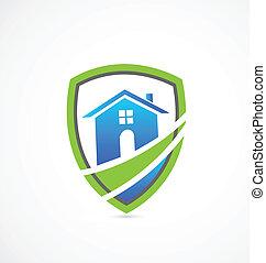 echte , haus, schutzschirm, gut, logo