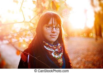 echte, Herbst, frau,  Park, Brille