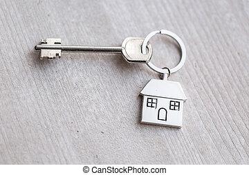 echte, het verhuren, concept, keychain, vorm, huizen, houten huis, landgoed, hypotheek, ligt, verhuizing, klee, boards., thuis, of, property.