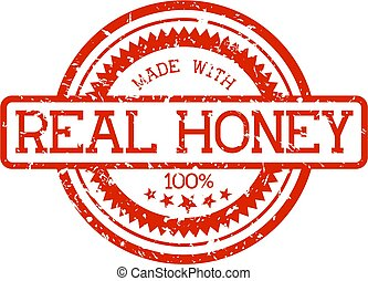 echte, honing, rubberstempel