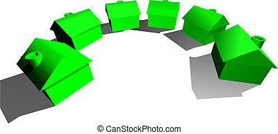 echte, huisen, concept, landgoed