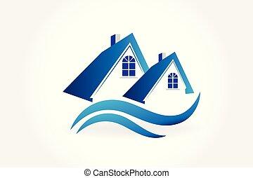 echte, huisen, vector, landgoed, logo