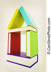 echte, illustration., kleurrijke, woning, books., ouderwetse , style., 3d