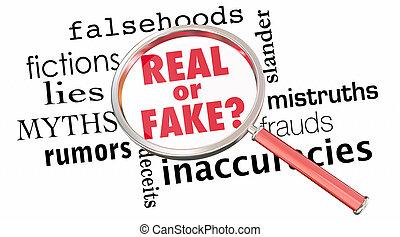 echte , informationen, lies, abbildung, vergrößerungsglas,...