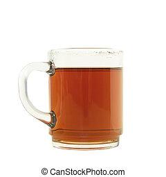 echte, kop, met, thee, vrijstaand, op, een, witte achtergrond