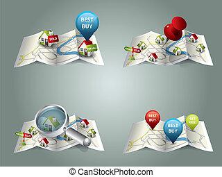 echte, landkaarten, landgoed