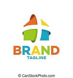 echte , logo, modern, kreuz, gut