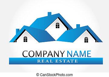 echte, logo, vector, landgoed, huisen
