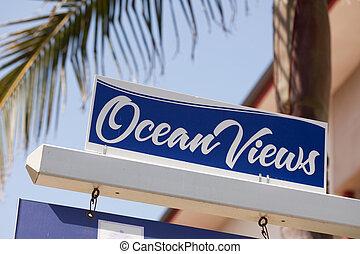 echte, meldingsbord, oceaan, landgoed, aanzichten