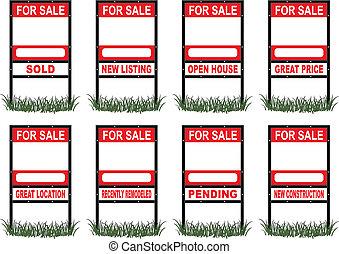 echte, meldingsbord, verkoop, landgoed, standaard