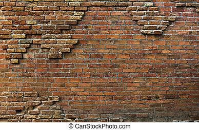 echte, mooi, ouderwetse , roestige , achtergrond, muur