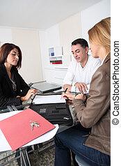 echte, ondertekening, landgoed, paar, contracteren, agent, eigendom