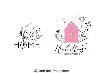 echte, ontwerp, logotype, landgoed