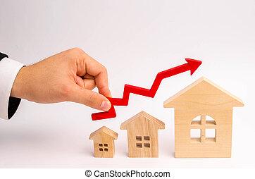 echte, opeisen, concept, growth., op, estate., houden, houses., zakenman's, waarde, hand, verhogen, appreciatie, groei, economisch, boven, hoofdstad, liquidity., richtingwijzer, eigendom, rood