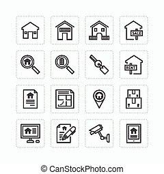 echte, plat, set, schets, landgoed, iconen, concept.,...