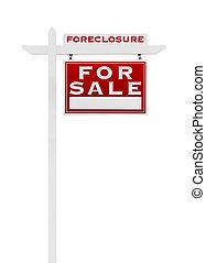 echte, rechts, landgoed, foreclosure, sold, vrijstaand, verkoop, revers, white., meldingsbord