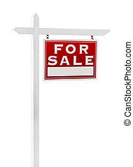 echte, rechts, landgoed, verkoop, vrijstaand, meldingsbord, revers, achtergrond., witte