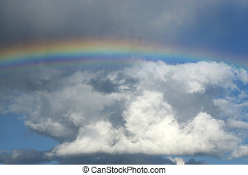 echte , regenbogen, aus, wolkenhimmel