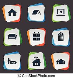 echte, set, eenvoudig, woongebied, illustratie, doghouse, hut, glas, synonyms, vector, icons., toren, skyscraper., cabine, anderen, communie