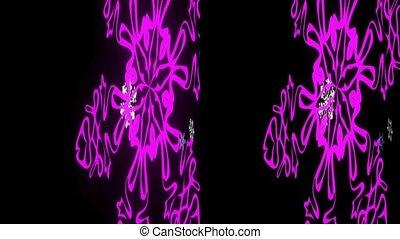 echte, snowflakes, stereoscopic., achtergrond., black , vj, 3d
