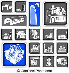 echte, squared, landgoed, iconen
