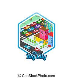 echte, stad, isometric, landgoed, groot, mal, realty, logo, ...