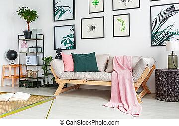 echte , stehende , zimmer, gemälde, regale, wand, foto, modern, nächste, betriebe, verzierungen, sofa, inneneinrichtung, lebensunterhalt