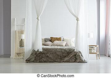 echte , tische, kissen, foto, hotelbett, canopied, lampen, interior., schalfzimmer, weißes, zwischen