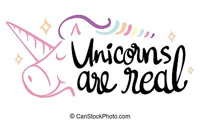 echte, uitdrukking, unicorns, woord