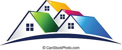 echte, vector, groep, huisen, landgoed