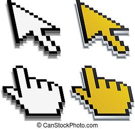 echte , verwischt, vektor, cursor, schatten, pixel, 3d