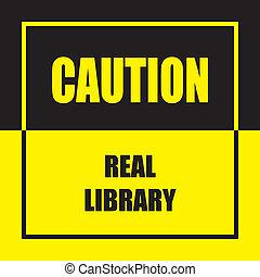 echte, voorzichtigheid, bibliotheek