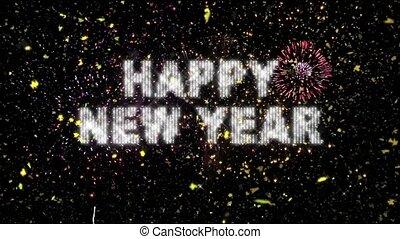 echte, &, vuurwerk, jaar, confetti, nieuw