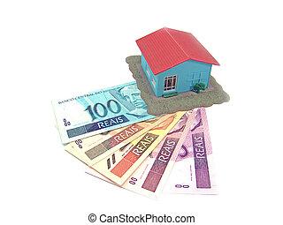 echte, weinig; niet zo(veel), bankbiljet, woning, op, partij, braziliaans, model