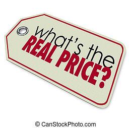 echte , whats, preisetikett, ausgabe, investition, kosten