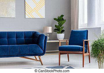 echte , wohnzimmer, sessel, sofa, modern, nächste, lampe, retro, hintergrund, foto, inneneinrichtung, gemälde, pflanze