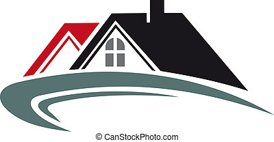 echte, woning, dak, landgoed, pictogram
