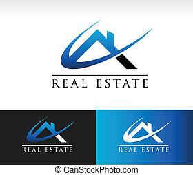 echte, woning, landgoed, dak, pictogram
