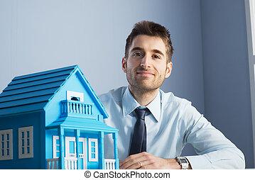 echte, woning, model, agent, landgoed