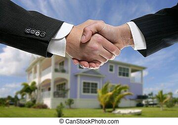 echte, zakenman, staat, handdruk, partners